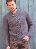 Мужской пуловер с плетеным узором