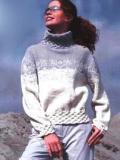 """Пуловер с """"плетеными"""" планками. Вязание спицами"""