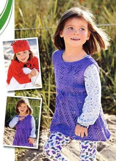 Сарафан для девочки с ажурным узором.  Вязание спицами.