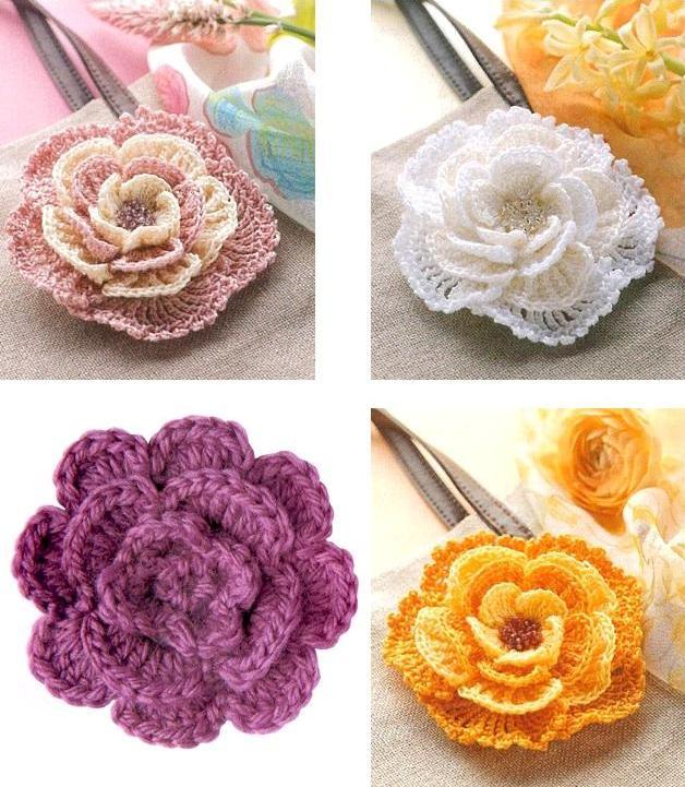 Вязаные цветы как украшение для одежды