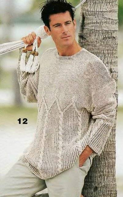 Мужской пуловер с узором из кос. Вязание спицами.