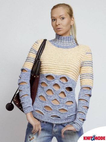 Женский пуловер с прорезями
