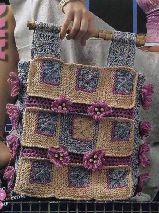Сумка из квадратов. Вязание спицами и крючком