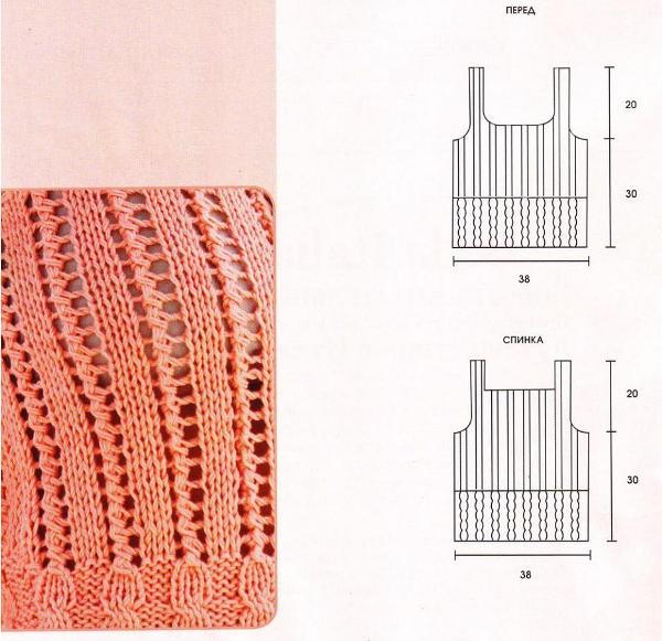 Розовый топ с узором из кос. Вязание спицами.