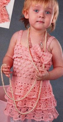 Ажурный сарафан для девочки 2 лет. Вязание крючком.