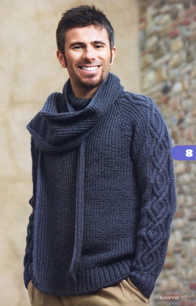 Мужской пуловер и шарф. Вязание спицами.