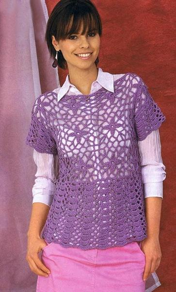 Сиреневый пуловер из квадратных мотивов