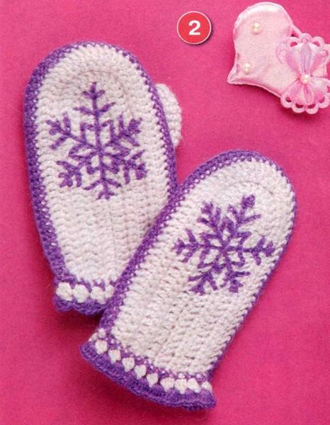 Детские варежки Снежинка. Вязание крючком