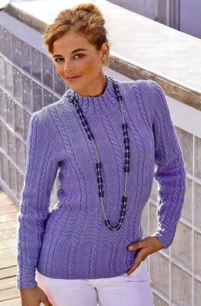 Пуловер с косами и ромбами. Вязание спицами.