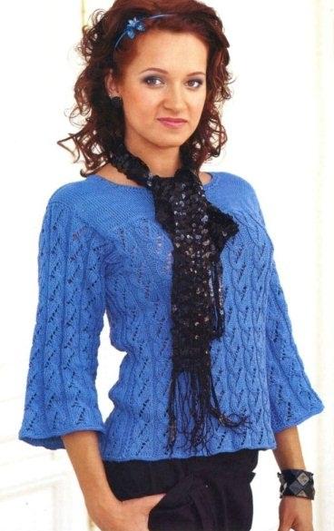 Голубая кофточка. Вязание спицами.