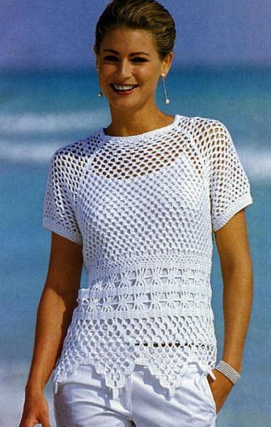 Белый пуловер с бордюром