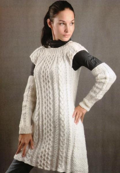Белое платье и митенки. Вязание спицами