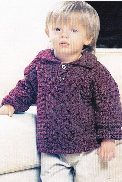 Пуловер для мальчика с воротником поло. Вязание спицами.