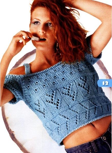 Короткий голубой топ. Вязание спицами.