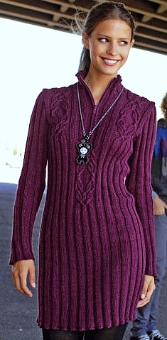 Платье-пуловер. Вязание спицами