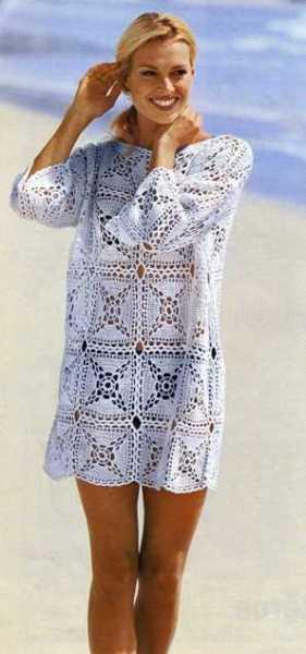 Пуловер из квадратов в стиле пэчворк