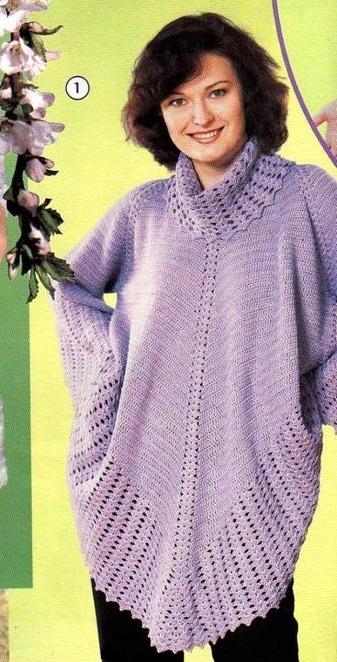 Сиреневый блузон. Вязание крючком
