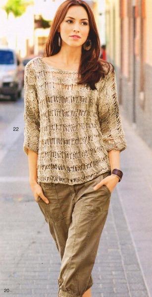 Пуловер со спущенными петлями. Вязание спицами