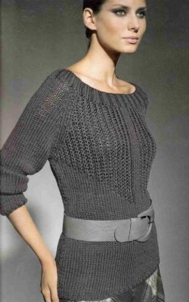 Пуловер с патентным узором и рукавами реглан